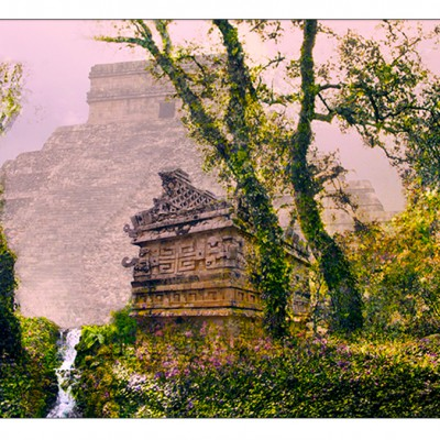 Chichen Itza/forest composite